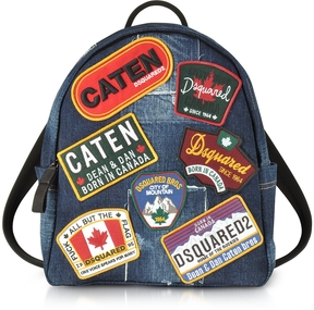 DSQUARED2 Denim Destroyed Men's Backpack w/Patches