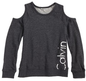 Calvin Klein Girl's Logo Graphic Cold Shoulder Sweatshirt