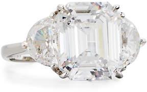 FANTASIA Clear Emerald-Cut & Half-Moon CZ Crystal Ring