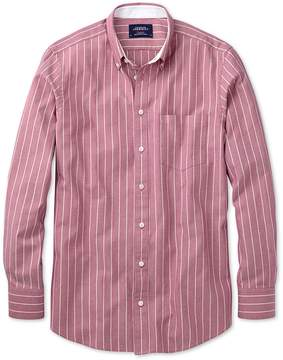Charles Tyrwhitt Extra Slim Fit Magenta Stripe Washed Oxford Cotton Casual Shirt Single Cuff Size XS