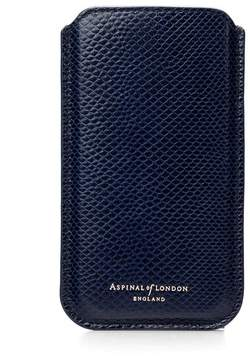 Aspinal of London | Iphone 6 Plus Leather Sleeve In Midnight Blue Lizard | Midnight blue lizard