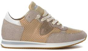 Philippe Model Tropez Pierced Golden Leather Sneaker With Grey Printed Crest