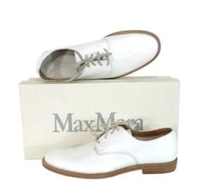 Max Mara White Leather Lace Up Flats