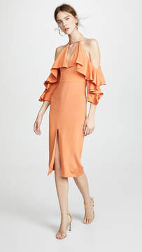 Cushnie et Ochs Aura Cold Shoulder Pencil Dress with Halter Neck