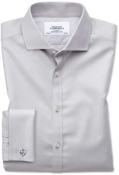 Charles Tyrwhitt Slim Fit Spread Collar Non-Iron Twill Grey Cotton Dress Shirt French Cuff Size 14.5/33