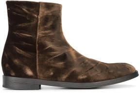Ann Demeulemeester crushed velvet chelsea boots