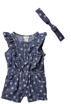Calvin Klein Printed Denim Ruffle Romper & Headband Set (Baby Girls)