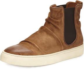 John Varvatos Reed Sharpei Leather Chelsea High-Top Sneaker, Dark Brown