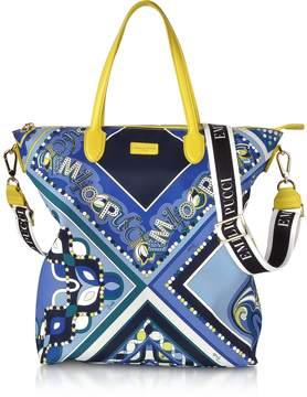 Emilio Pucci Cobalt and Petrol Blue Printed Canvas N/S Tote Bag