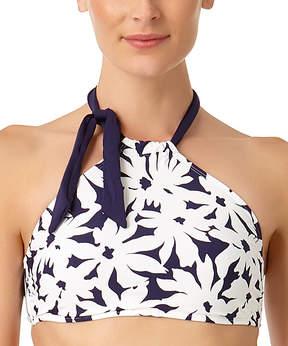 Anne Cole Navy & White Floral Tie-Accent Halter Bikini Top - Women