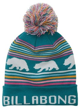 Billabong Women's Cali Love Pompom Beanie - Blue/green