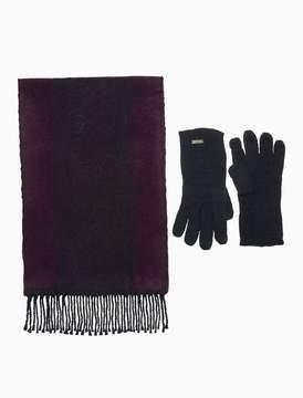Calvin Klein monogram logo scarf + glove set
