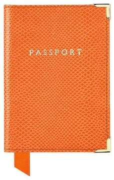 Aspinal of London | Passport Cover In Orange Lizard Cream Suede | Orange lizard cream suede