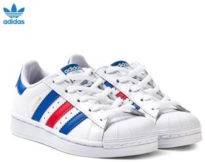 adidas White, Navy and Red Superstar Kids Trainers