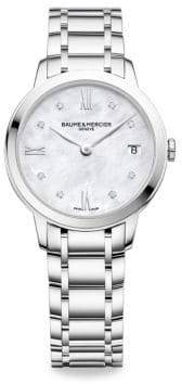 Baume & Mercier Classima 10326 Diamond, Mother-Of-Pearl & Stainless Steel Bracelet Watch