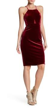 Bebe Mesh Cutout Velvet Bodycon Dress