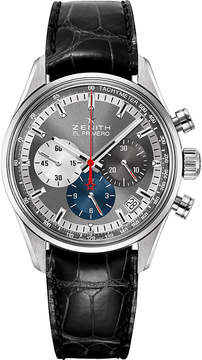 Zenith 03.2150.400/26.C714 El Primero stainless steel and alligator leather watch