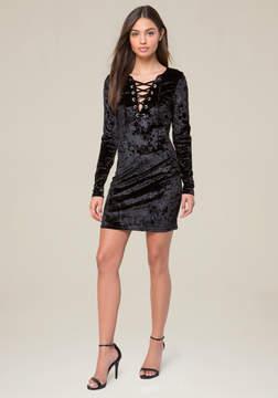 Bebe Velvet Lace Up Dress