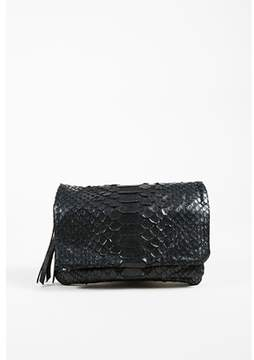 Carlos Falchi Pre-owned Black Python Snakeskin Enchained Clutch Bag.