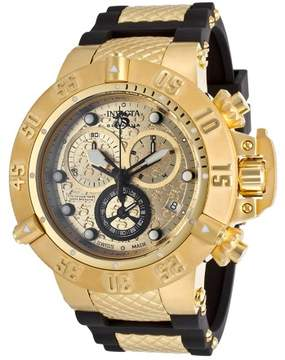 Invicta Subaqua Noma IV Chronograph Champagne Dial Black Polyurethane with Gold-plated Men's Watch 15802