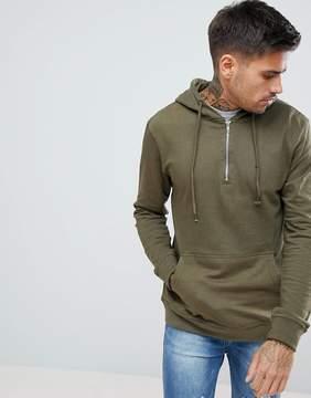 Pull&Bear Half Zip Hoodie In Khaki
