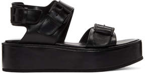 Ann Demeulemeester Black Leather Platform Sandals