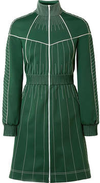 Valentino Embroidered Satin-jersey Mini Dress - Forest green