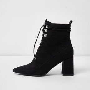 River Island Womens Black pointed toe lace-up boots