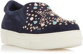 Dune London ELHA - BLUE Star Embellished Slip on Sneaker