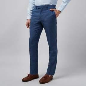 River Island Mens Blue linen slim fit suit pants