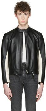 Maison Margiela Black Leather Racer Jacket