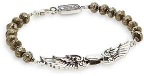 King Baby Studio Men's Wingspan Beaded Sterling Silver Bracelet
