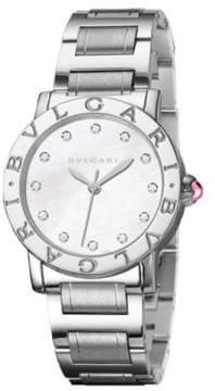 Bulgari Mother of Pearl Diamond Dial Stainless Steel Ladies 26mm Watch