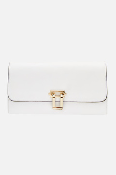 Magnolia White Clutch With Gold Hardware