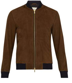 Oliver Spencer Contrast-trim suede bomber jacket