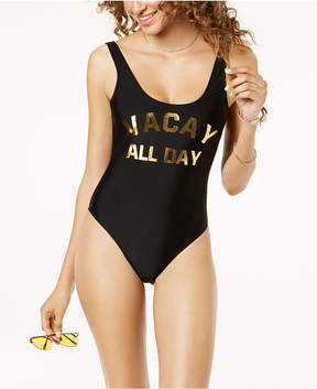 California Waves Juniors' Metallic Graphic Cheeky One-Piece Swimsuit, Created for Macy's Women's Swimsuit