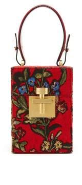Oscar de la Renta Crimson Jacquard Mini Alibi Bag