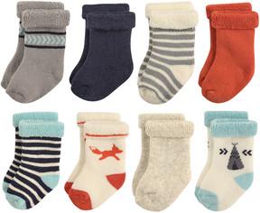 Hudson Baby Cream & Red Fox Roll-Cuff Eight-Pair Socks Set - Infant