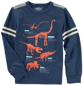 Osh Kosh Boys 4-12 Glow in the Dark Dinosaur Striped Tee