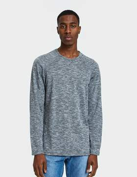 Reigning Champ LS Raglan Tee Honeycomb Mesh in Heather Black