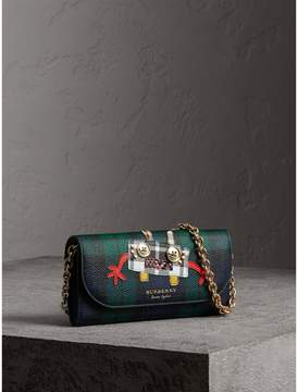 Burberry Creature Appliqué Tartan Leather Wallet with Chain