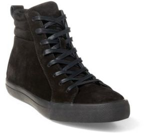 Ralph Lauren Gaven Suede High-Top Sneaker Black 10