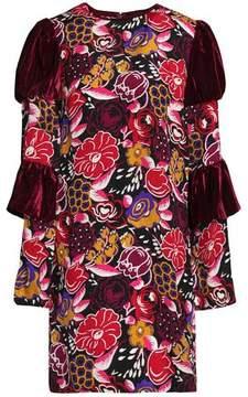 Anna Sui Paneled Velvet And Printed Silk Mini Dress