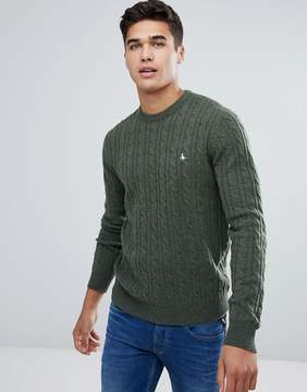 Jack Wills Marlow Cable Crew Neck Sweater In Dark Green