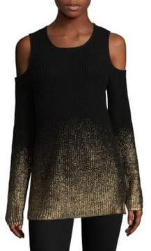 Design History Metallic Cold-Shoulder Sweater