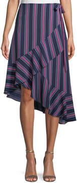 Laundry by Shelli Segal Asymmetric Striped Wrap Skirt