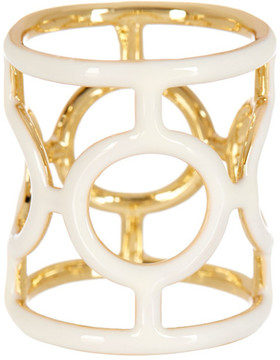 Ariella Collection Geo Enamel Caged Ring