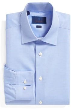 David Donahue Men's Trim Fit Microcheck Dress Shirt