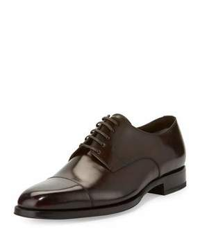 Tom Ford Wessex Cap-Toe Leather Oxford, Brown