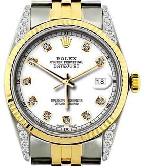 Rolex Datejust Two Tone Diamonds 36mm Mens Watch